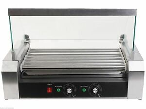 Commercial 18 Hot Dog Hotdog 7 Roller Grill Cooker Grilling Machine W Cover New