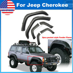 For 90 01 Jeep Cherokee Xj 5 Pocket Rivet Style Fender Flares 6pcs Wheel Cover