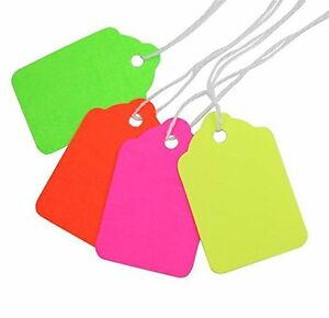 5 Fluorescent Colors Merchandise Tags With Knotted Strings 1 3 4x1 1 8 Md5000fx