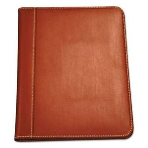 Samsill 71716 Contrast Stitch Leather Padfolio 8 1 2 X 11 Leather Tan