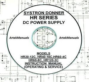 Systron Donner Hr Series Power Supplies Operating Service Manual Schematics