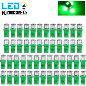 50x Green T10 168 Wedge 5050 5smd Led Interior Instrument Light Bulb 192 W5w 152