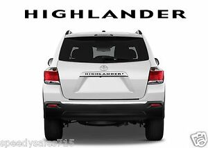 Black Rear Letters Inserts For 2008 2013 Toyota Highlander New Free Shipping