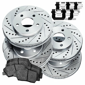 Fit 2007 2009 Hyundai Elantra Front Rear Drill Slot Brake Rotors ceramic Pads