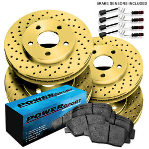 full Kit powersport Gold Cross Drilled Rotors And Ceramic Pads Bgxc 35080 02