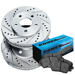Brake Rotors Front Kit Powersport Drilled Slotted Ceramic Pads Bv02854