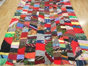 Vtg Antique 1880 Victorian Crazy Quilt Top Satin Silk 87x68 Hand Stitched 87x68