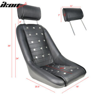 Fits Classic Car Mid Sized Bucket Seat With Sliders Black Pu Faux Leather