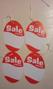 Oval sale Price Strung Tags 2 3 4 X 4 Ov2000wh White And Red