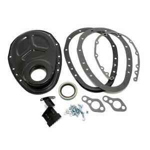 Sbc Chevy 2 Piece Edp Black Timing Chain Cover 3 05 327 350 400 Small Block