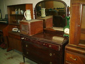 Antique Vintage Vanity 3 Large Drawer Dresser Very Large Mirror All Pull Handles