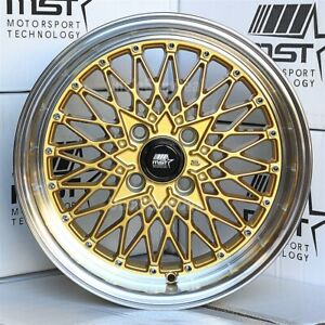 15 15x8 4x100 20 Mst Mt16 Gold Mesh 2 5 Machine Lip Silver Rivets Wheels Set