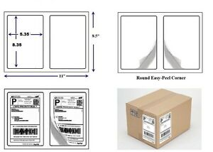 1000 Quality Round Corner Shipping Labels 2 Per Sheet 8 5 X 5 5
