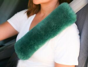 9 L Emerald Green Merino Sheepskin Seat Belt Shoulder Strap Pad Cover Jms Usa