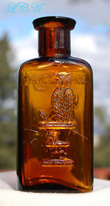 Larger Rare Amber Colored Owl Drug Bottle W Embossed Owl On It Nice And Clean