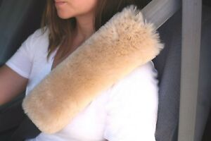 2 Cream Tan 12 Long Merino Sheepskin Seat Belt Shoulder Strap Pad Covers Usa