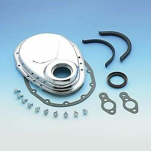 Chrome Timing Chain Cover Kit Small Block Chevy Sbc 305 350 400 70 95 Mr Gasket