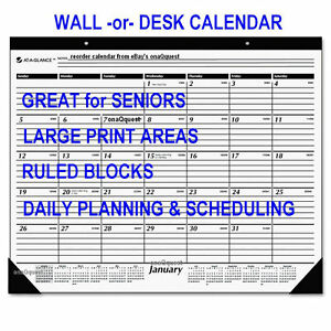 2x 2018 Large Print Wall Desk Calendar Ruled At A Glance Appointment Schedule