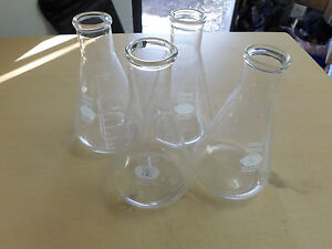 Lot Of 4 Pyrex 500ml Erlenmeyer Flasks No 4980 Stopper 7