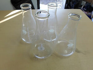 Lot Of 3 Pyrex 500ml Erlenmeyer Flasks No 5100 Stopper 10