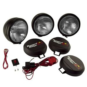 Rugged Ridge 15205 62 5 Round Hid Off Road Fog Light Kit W Black Steel Housing