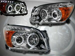 2006 2008 Rav4 Rav4 Ccfl Halo Led Projector Headlights Chrome Clear