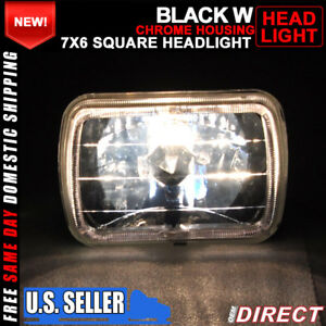 7x6 Square H4 Headlight Lamp With Halo Halogen Bulb Clear Lens