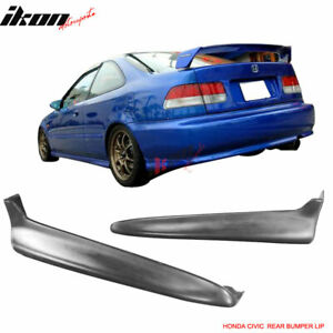 Fits 99 00 Honda Civic Rear Bumper Lip Splitters Unpainted 2pc Pu Polyurethane