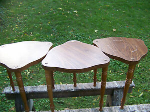 3 Mid Century Modern Stacking End Side Lamp Tables Walnut Nesting Vintage