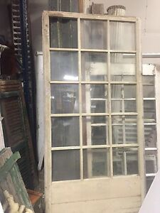 C1890 1900 Huge Porch Window Frame Panel 15 Panes Old Glass Crackled Paint 95 5