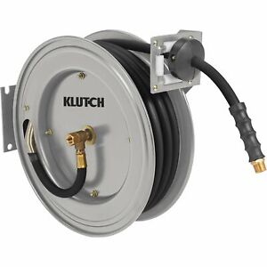 Klutch Heavy duty Auto Rewind Air Hose Reel W 3 8in X 50ft Rubber Hose