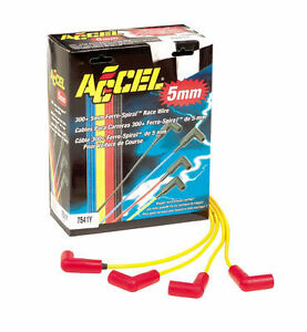 Accel Spark Plug Wires 5 Mm Yellow Chevy Ford Dodge Rfi Spiral Co Wire Universal