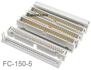 5 pack 50 pin 2x25 Male Idc Flat Ribbon Cable Box Header Connectors Fc 150 5
