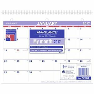 At a glance Wall Calendar 2017 Monthly 11 X 8 5 Unruled pm170 2 New