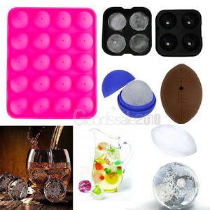 Whiskey Ice Cube Ball Maker Mold Silicone Sphere Cocktails Party Tray Round Bar