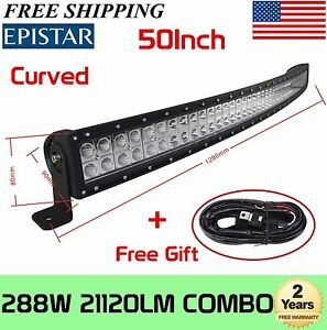 50inch Curved Off Road 288w Led Lamp Work Light Bar Suv Jeep 4wd 4x4 Wiring Kit