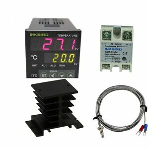 100 240v Digital Temperature Controller Pid K Sensor Ssr 25da Heat Sink