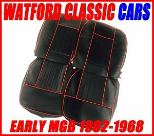 Mgb Roadster And Gt Pair Of Seat Covers 1962 1968 Leather Look Black Red