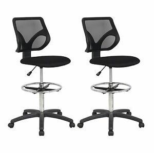 Cool Living Mesh Armless Fixed Upright Adjustable Drafting Chair Black 2 Pack