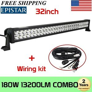 32 Inch 180w Led Light Bar Offroad Work Lamp Spot Flood Combo 4wd Suv Wiring Kit