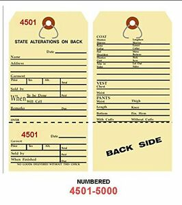 Alteration Tags 6 1 4 X 3 1 8 2 sided Manila With Button Slot Numbered4501 5000