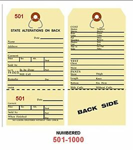 Alteration Tags 6 1 4 X 3 1 8 2 sided Manila With Button Slot Numbered501 1000