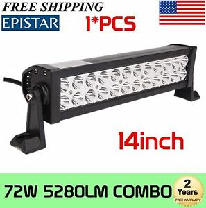 14 Inch 72w Led Work Light Bar Combo Offroad 4wd Suv Atv Ute Truck Driving Lamp