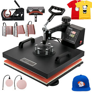 8in1 Combo T shirt Heat Press Transfer 15 x15 Baseball Hat Machine Swing Away
