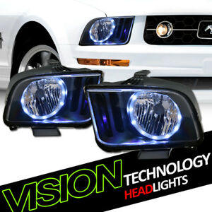 Black Housing Led Halo Angel Eyes Headlights Headlamps Nb For 05 09 Ford Mustang
