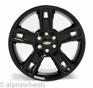 4 New Chevy Silverado Avalanche Gbt Black 22 Wheels Rims Lugs Free Ship 5664