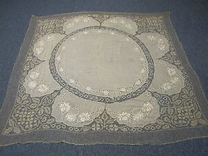 Antique Silk Tablecloth With Hand Embroidered Flowers Net Lace 64 Square