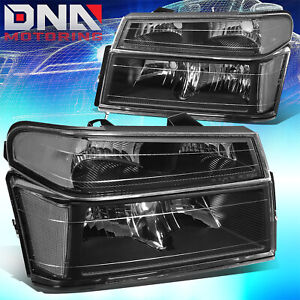 For 2004 2012 Chevy Colorado gmc Canyon Pair Headlight bumper Lamps Black clear