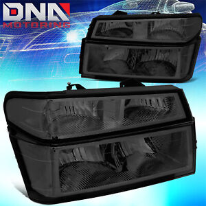 For 2004 2012 Chevy Colorado gmc Canyon Pair Headlight bumper Lamps Smoked clear
