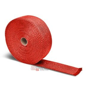 10m 393 L 2 W Header Manifold Exhaust Turbo Down Pipe Piping Red Heat Wrap